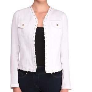 Bianca nygaard white denim and knit jacket